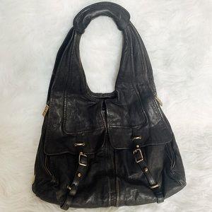 Kooba black leather shoulder bag gold hardware
